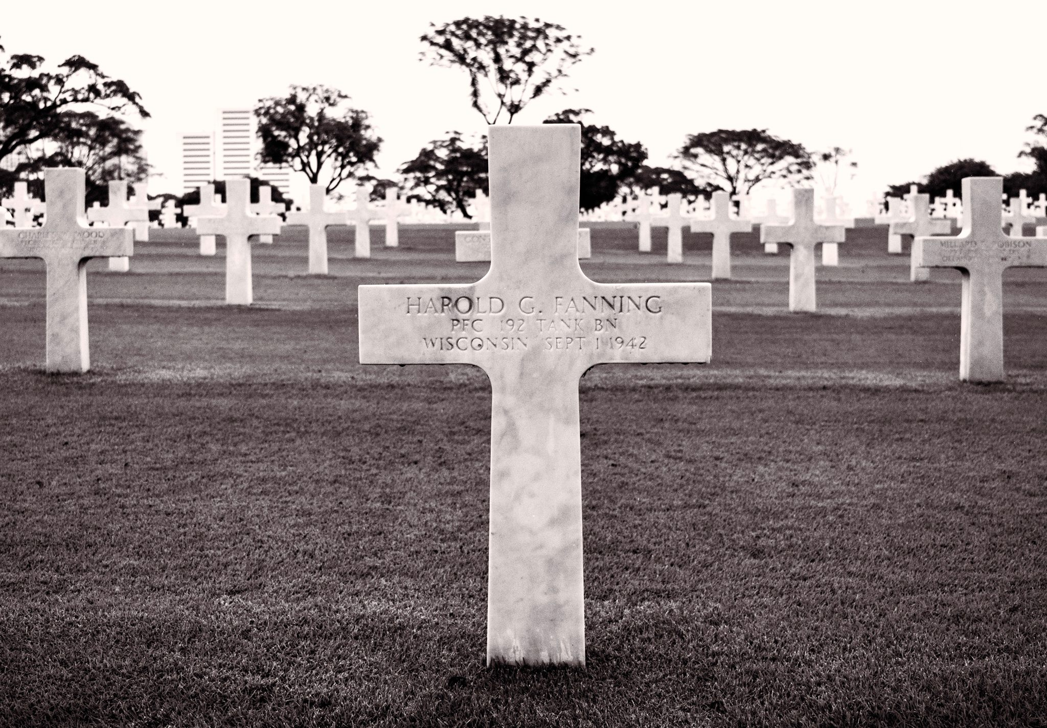 Grave of Pvt Harold Fanning - Manila American Cemetery